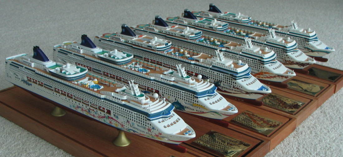 Norwegian Star, Dawn, Jewel, Pearl, Gem and Jade cruise ship models 1:900 scale , by Scherbak. Picture