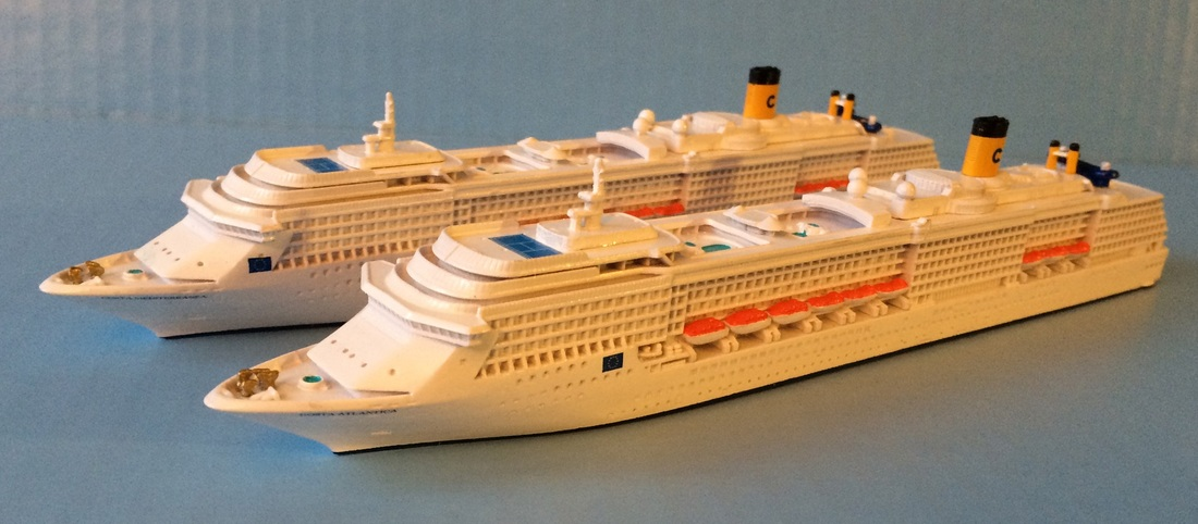 COSTA ATLANTICA and MEDITERRANEA cruise ship models 1:1250 scale, by Scherbak