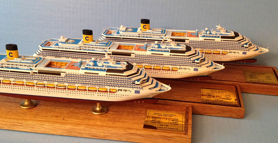 Costa Concordia, Costa Serena, Costa Pacifica cruise ship models by Scherbak, Picture