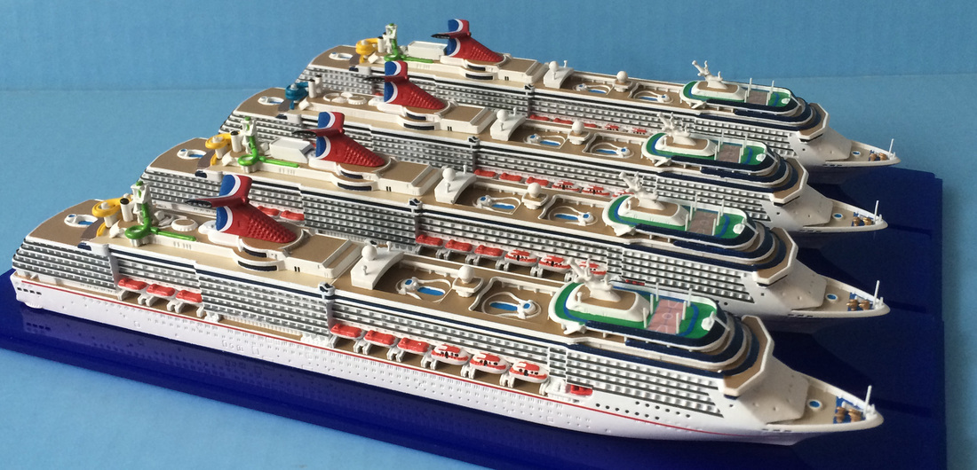 Carnival Spirit, Pride, Legend, Miracle cruise ship models after refit