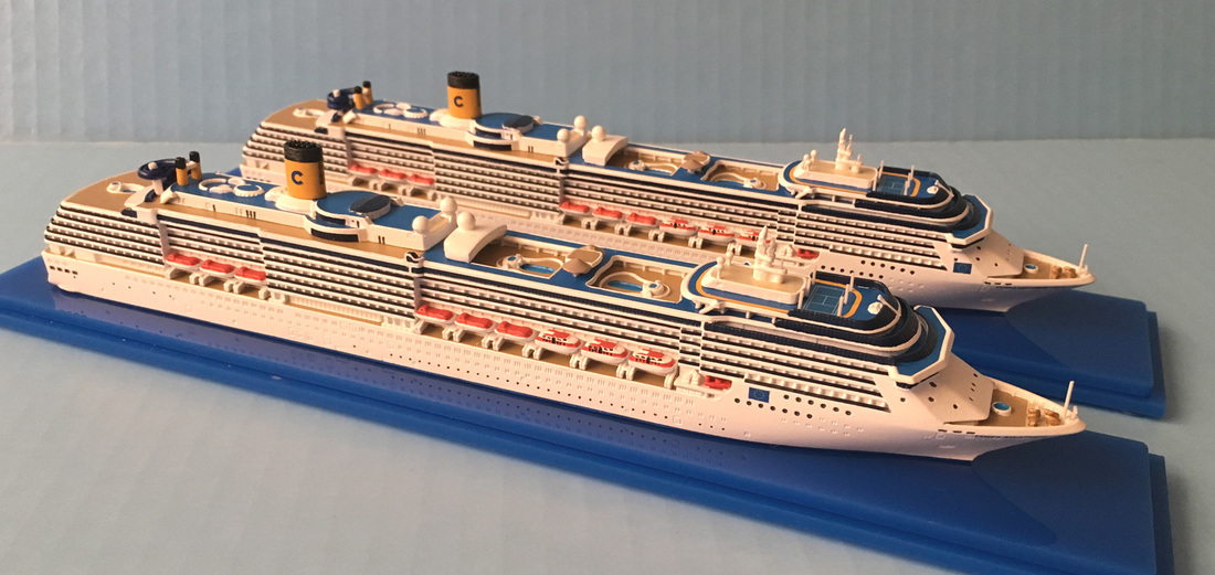 Costa Atlantica and Costa Mediterranea cruise ship models 1:1250 scale