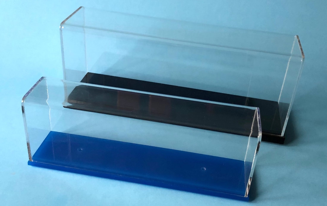 Display Cases for  Scherbak ship models: Blue Series  for waterline models and Black Series for full hull models