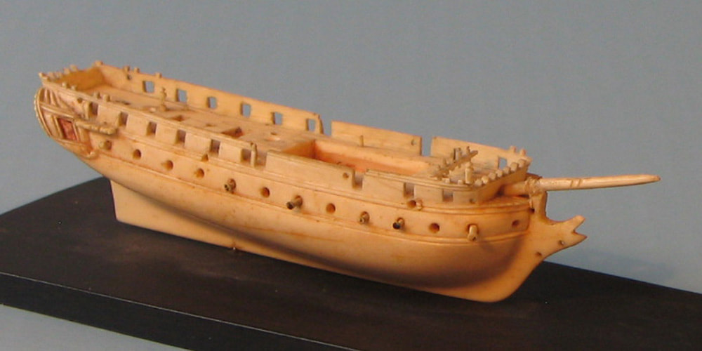 Dieppe ivory ship model. Napoleonic frigate