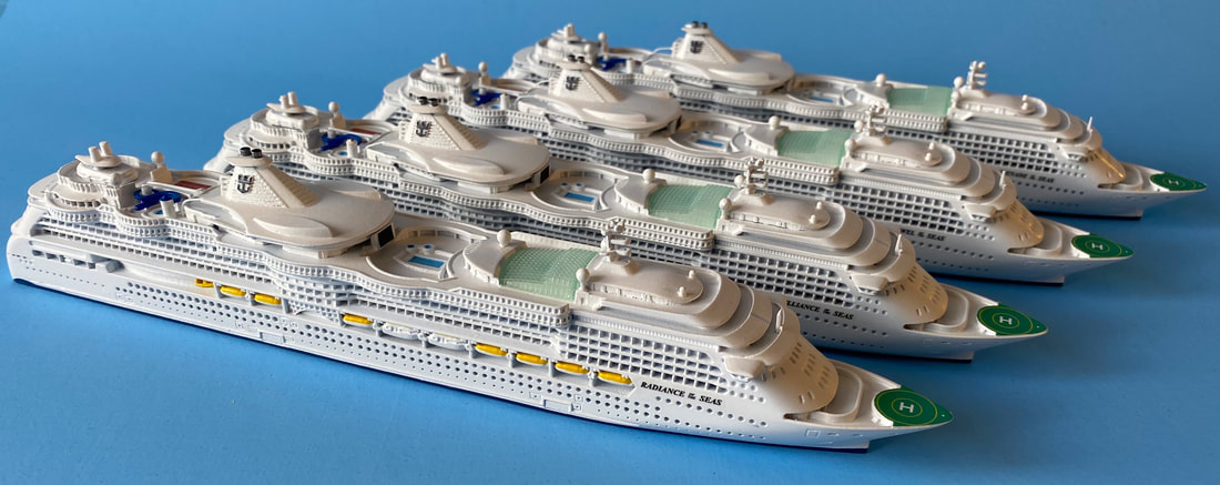 Radiance of the Seas, Brilliance of the Seas, Serenade of the Seas and Jewel of the Seas cruise ship models  1:1250 scale by Scherbak